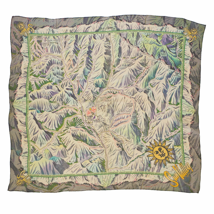 Sun Valley Winter Recreation Map Silk Chiffon Scarf