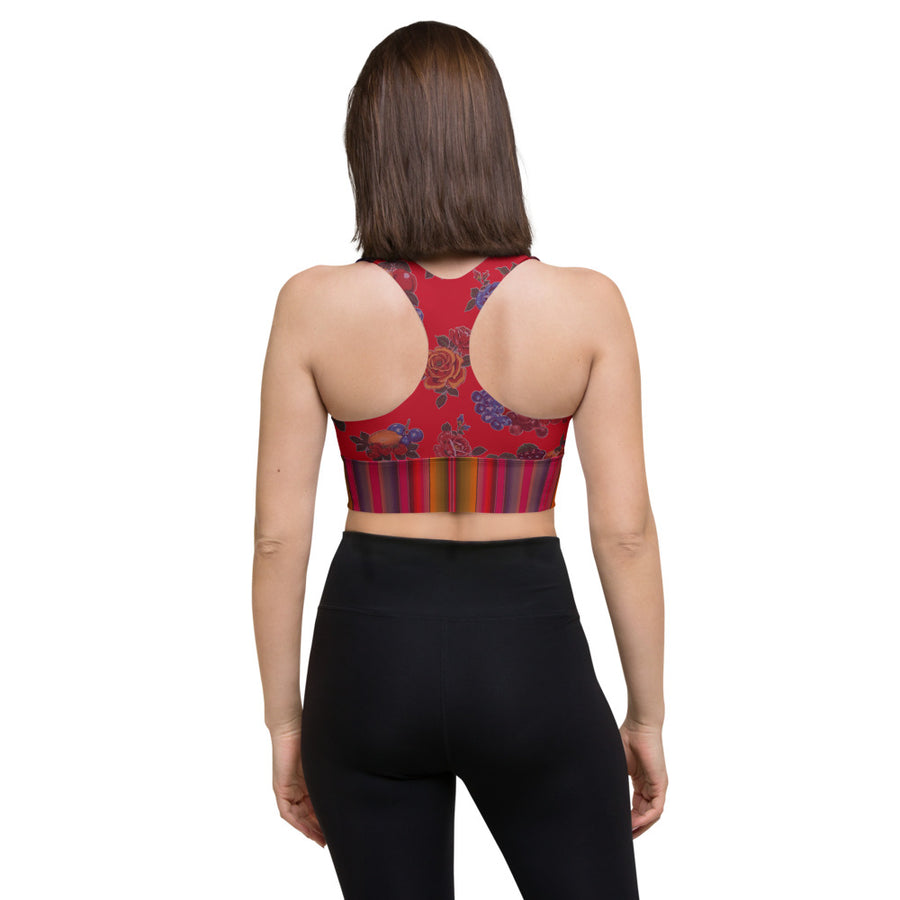 Fruit, Roses and Serape Red Long Line Sports Bra