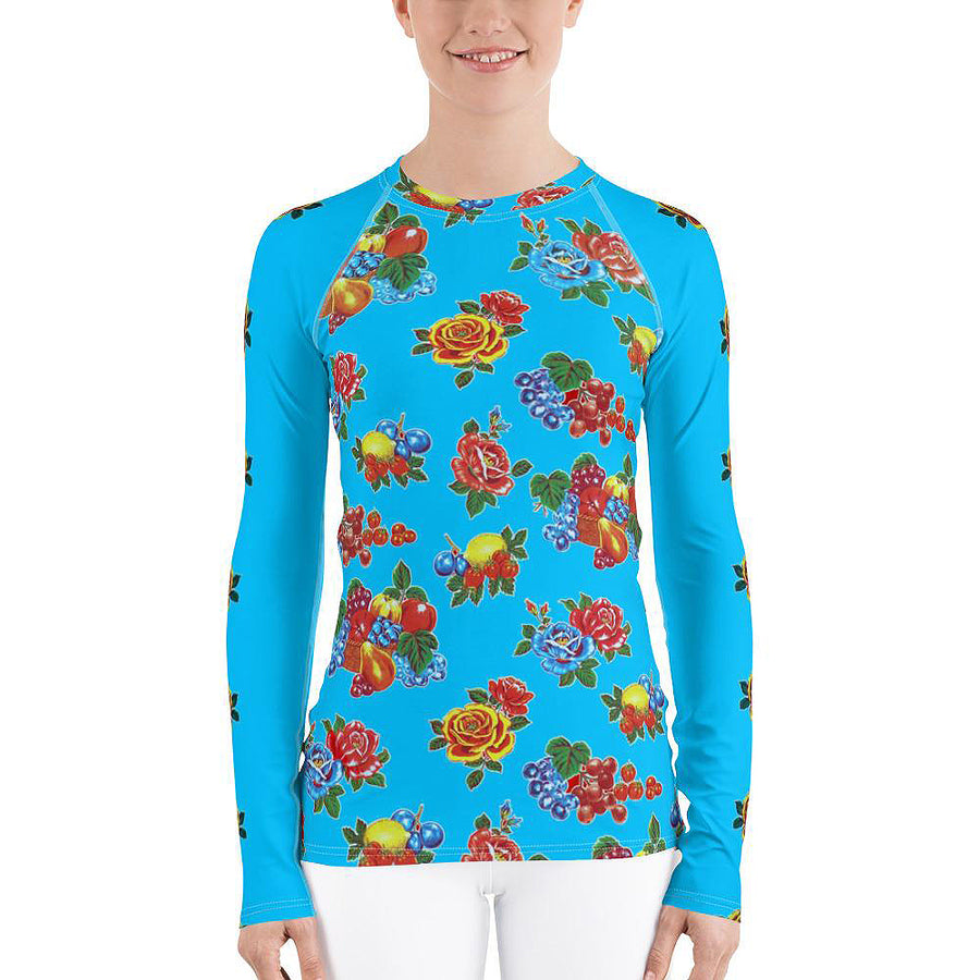 Fruit and Roses Turquoise OilCloth Print Women's Long Sleeve Top