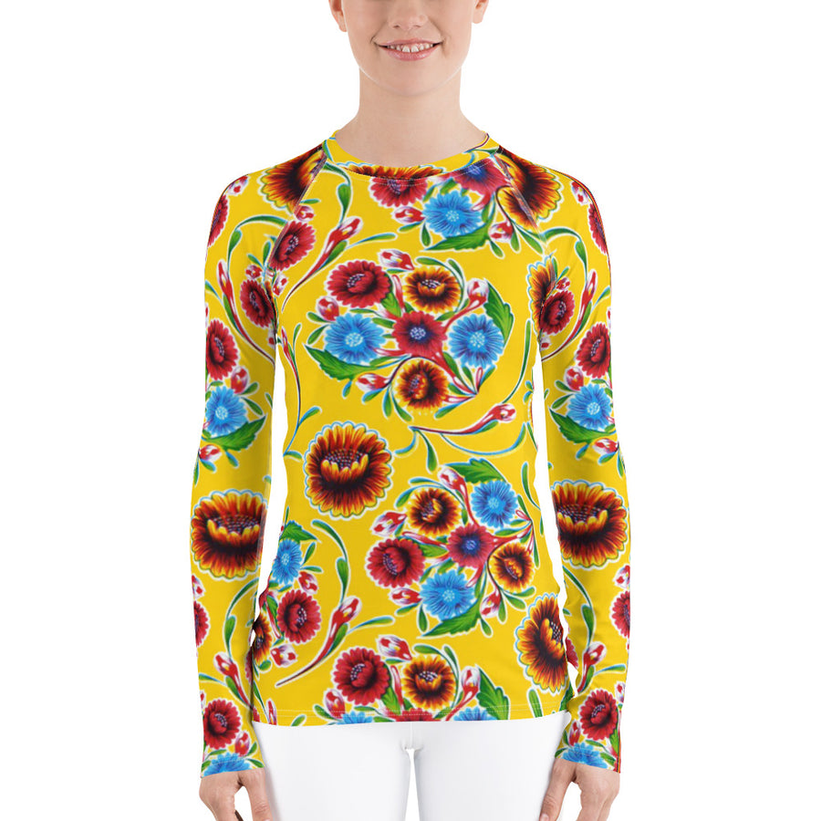 Yellow Bloom w/Serape Stripe Oilcloth Print Women's Long Sleeve Top