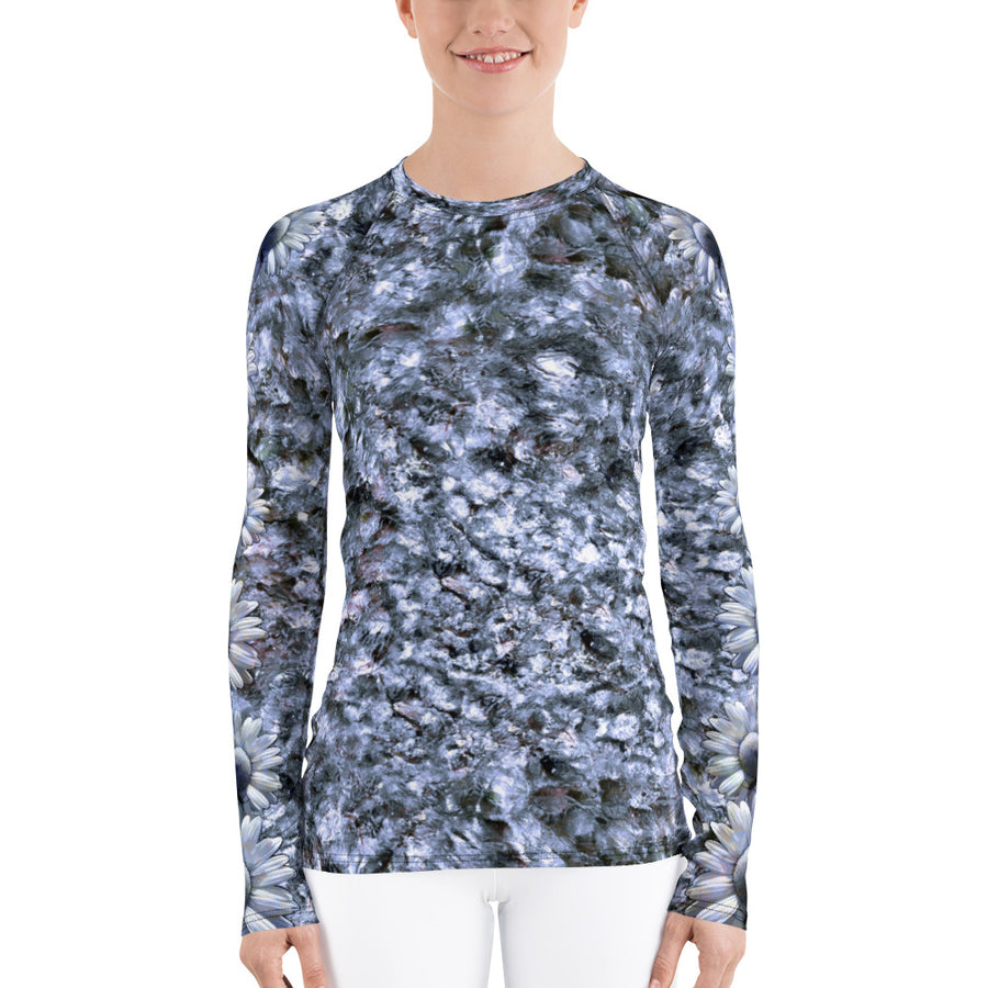 Riverbed & Daisy Stripe Blue Women's Long Sleeve Top