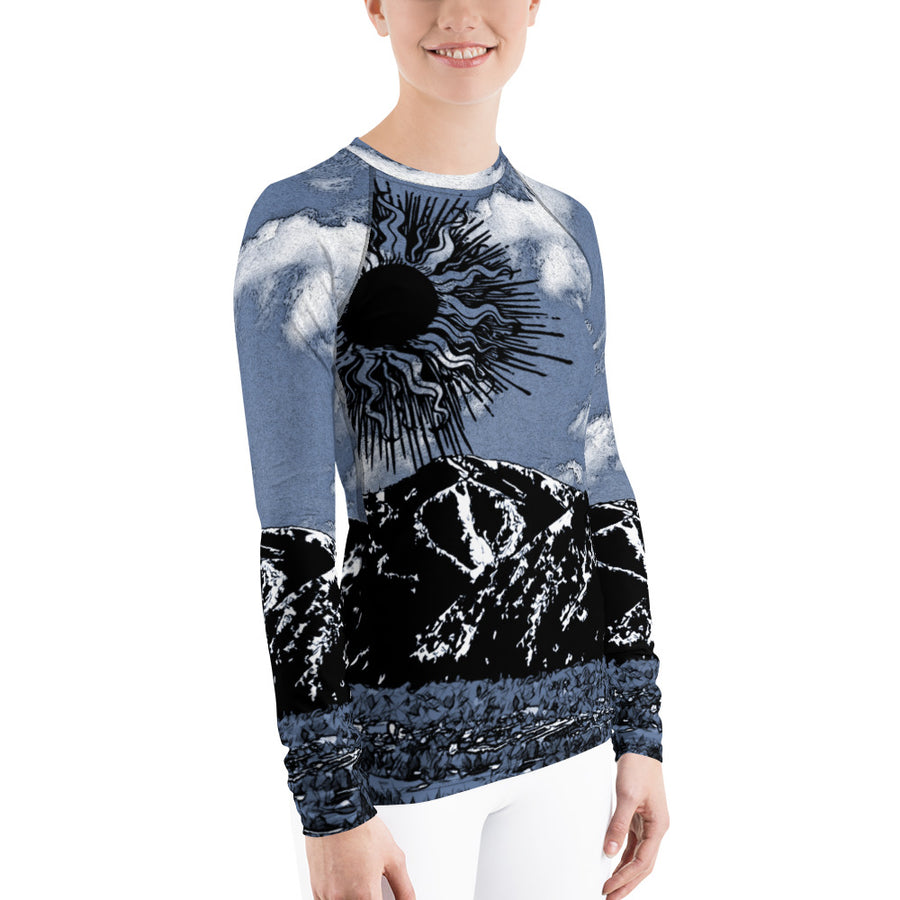 Summer Sun Over Baldy Indigo Women's Long Sleeve Top