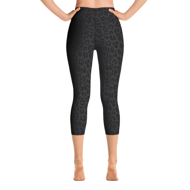 Leopard Black-Deep Navy Yoga Capri Leggings