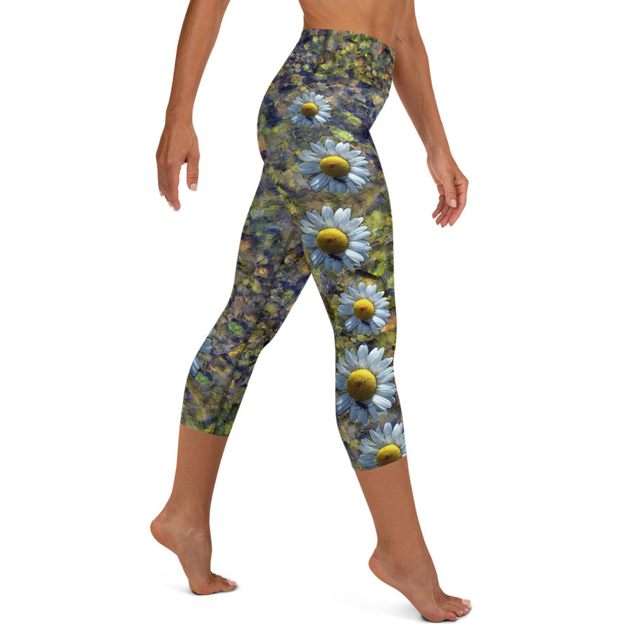 Riverbed & Daisy Stripe Yoga Capri Leggings