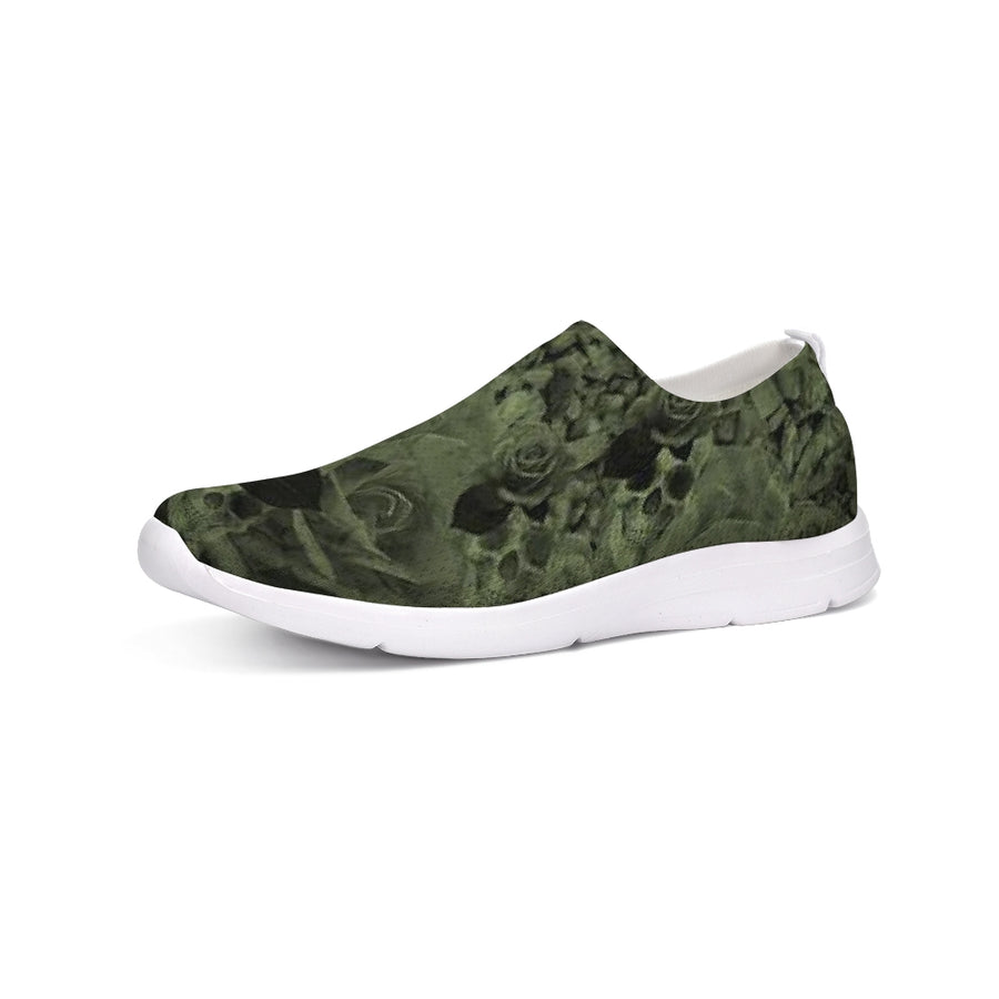 Skull Rock Roses Olive Flyknit Slip-on Shoe