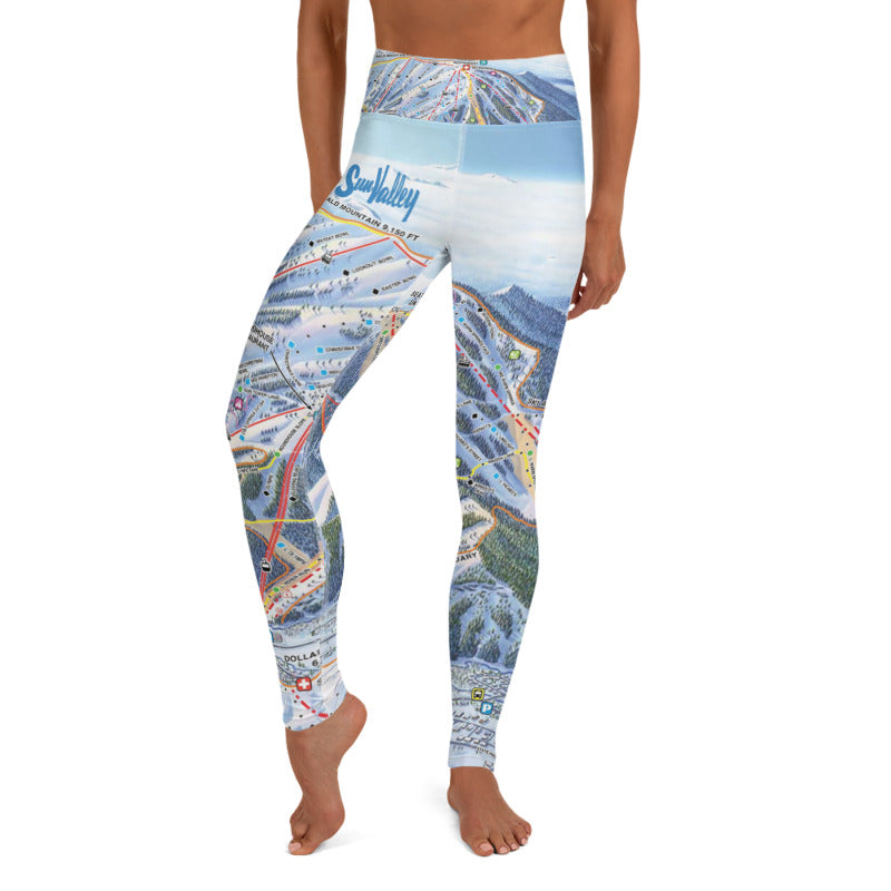 Sun Valley Winter Map Yoga Leggings