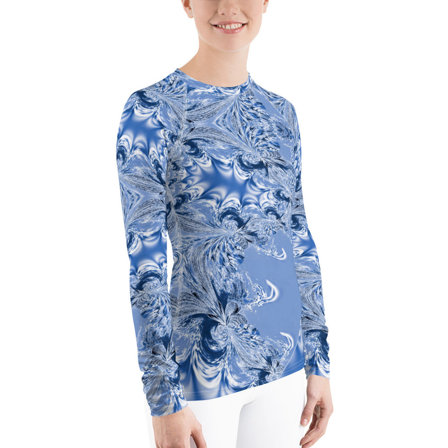 Blue Fractal Women's Long Sleeve Top