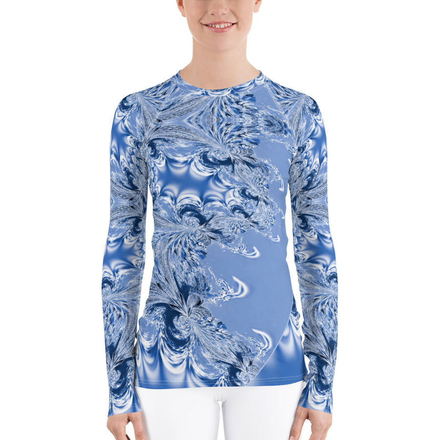 Blue Fractal Long Sleeve Top