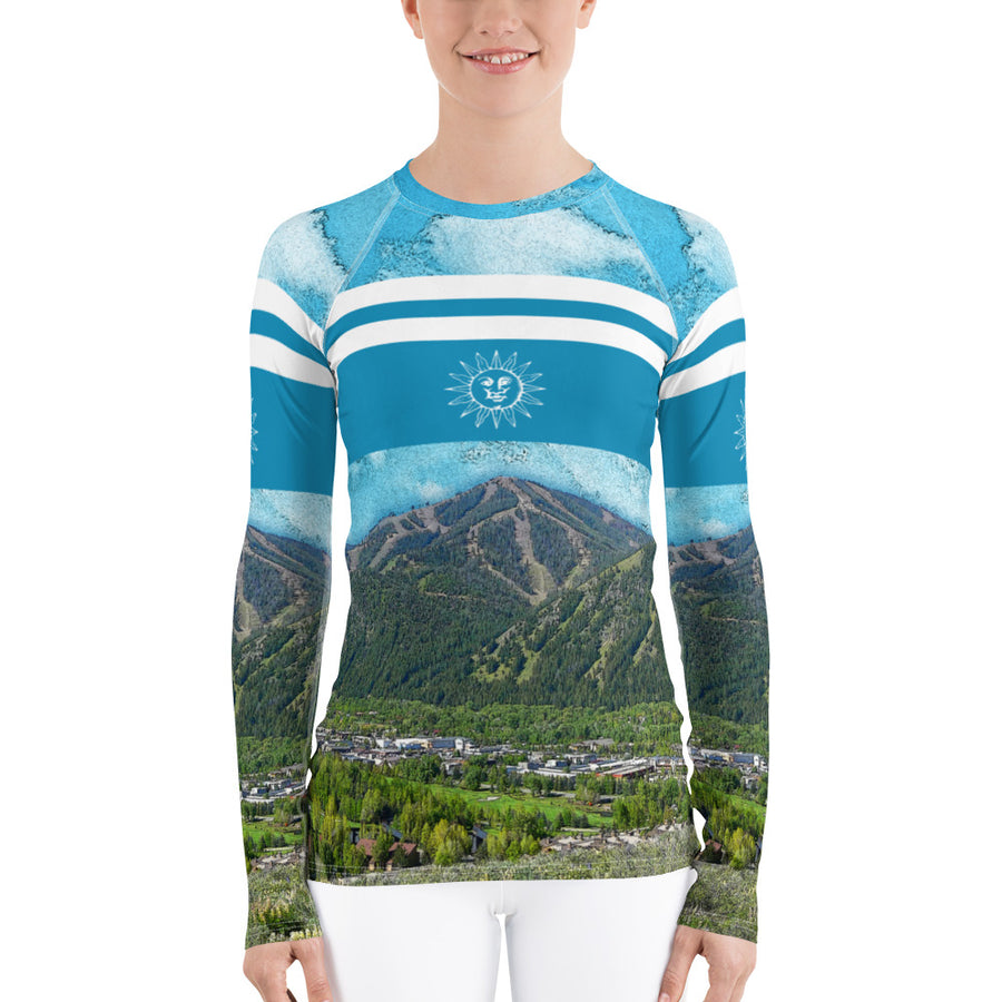 Sun Valley Colorful Baldy Blue Stripe Long Sleeve Top