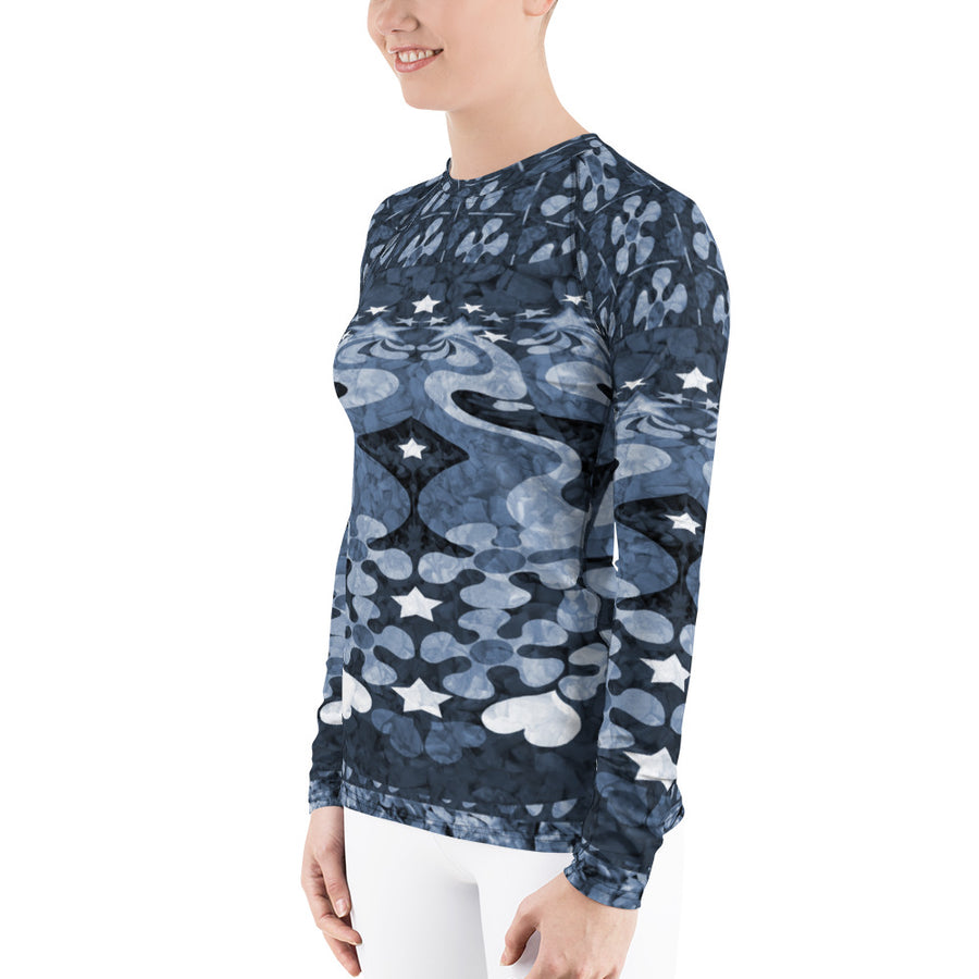 PopArt Blue Women's Long Sleeve Top