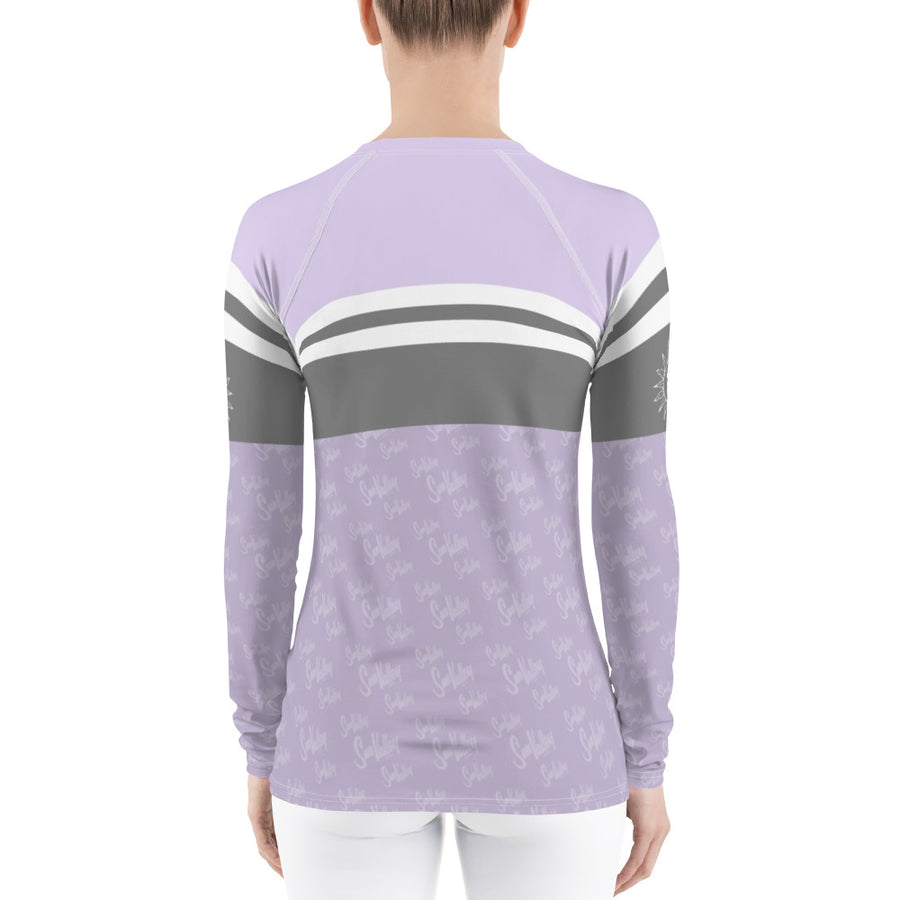 Sun Valley Logo Lavender Stripe Long Sleeve Top