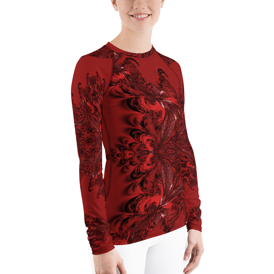 Red Fractal Long Sleeve Top