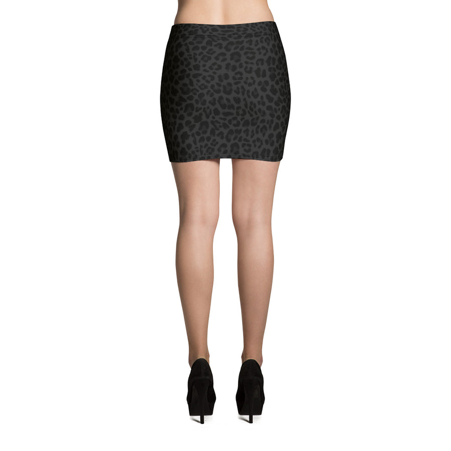 Leopard Black-Deep Navy Mini Skirt