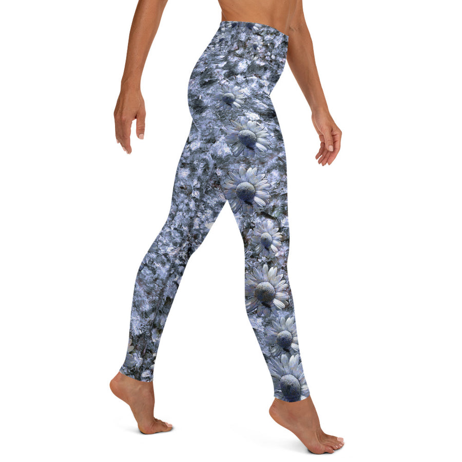 Riverbed & Daisy Stripe Blue Yoga Leggings