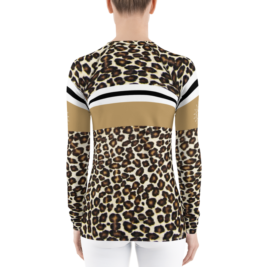 Sun Valley Leopard Print Natural Long Sleeve Top