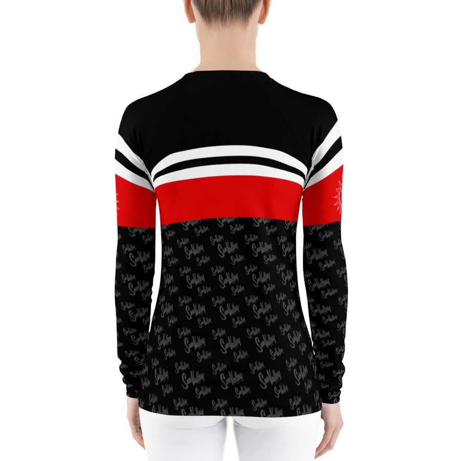 Sun Valley Logo Red & Black Stripe Long Sleeve Top