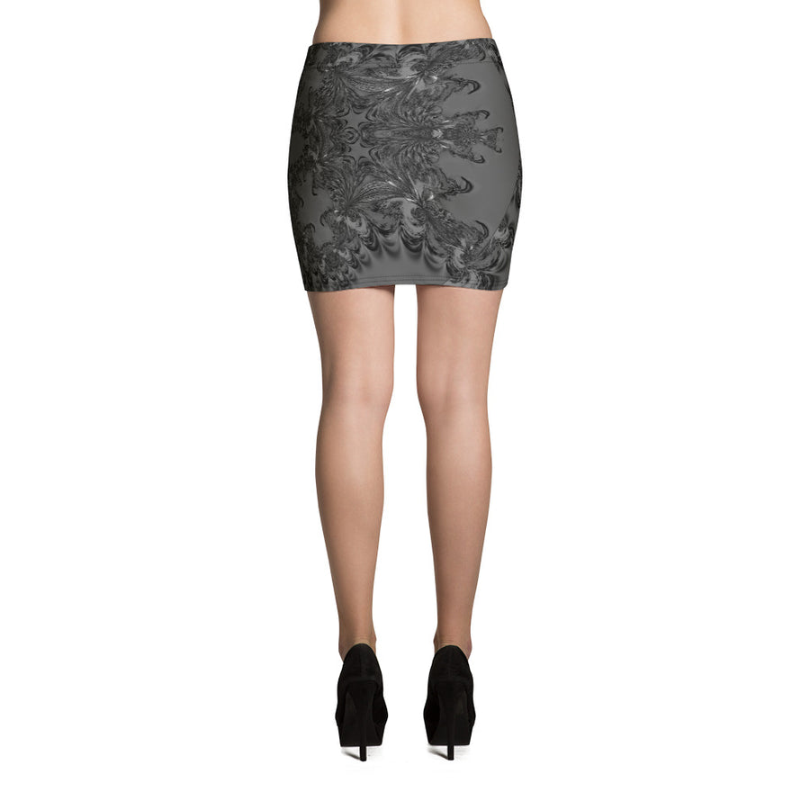 Grey Fractal Mini Skirt