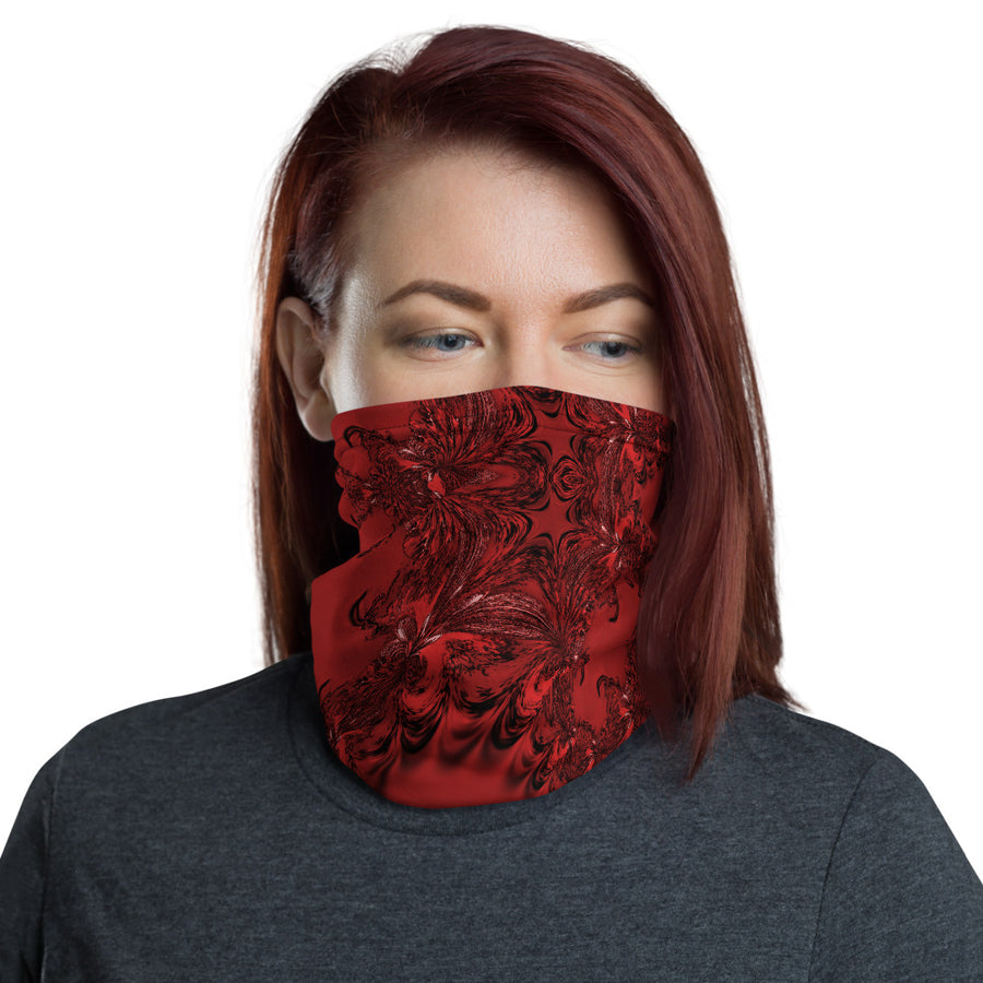 Red Fractal Neck Gaiter