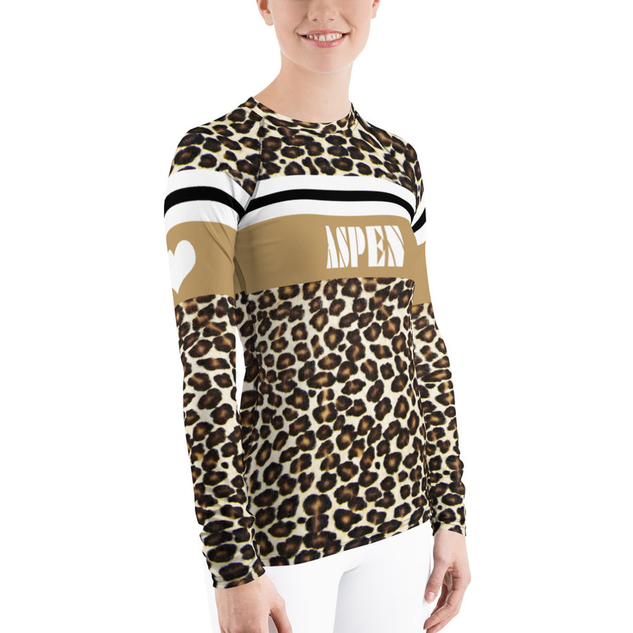 Aspen Leopard Print Natural Women's Long Sleeve Top
