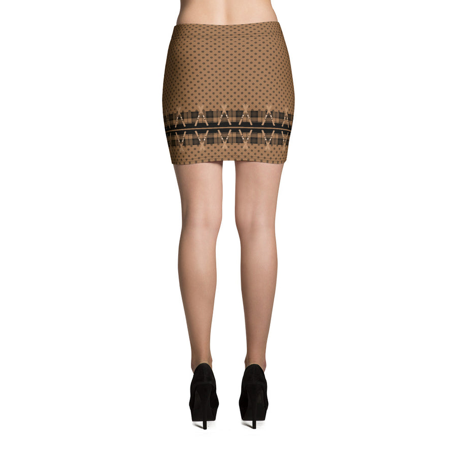 Crossed Ski Mini Skirt Brown