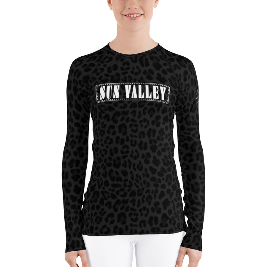 Sun Valley Leopard Black-Deep Navy Long Sleeve Top