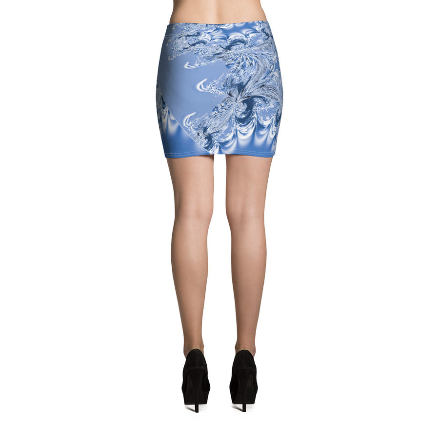 Blue Fractal Mini Skirt