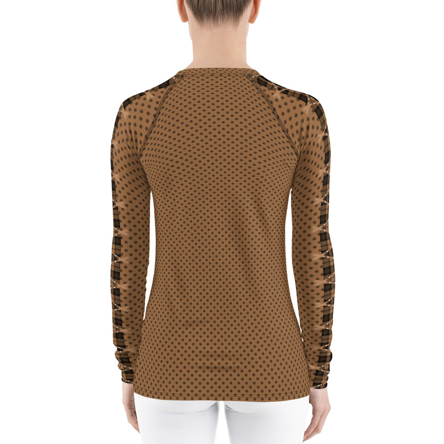 Crossed Ski Brown Women's Long Sleeve Top