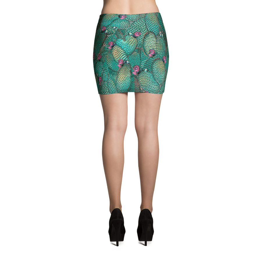Prickly Pear Teal Mini Skirt