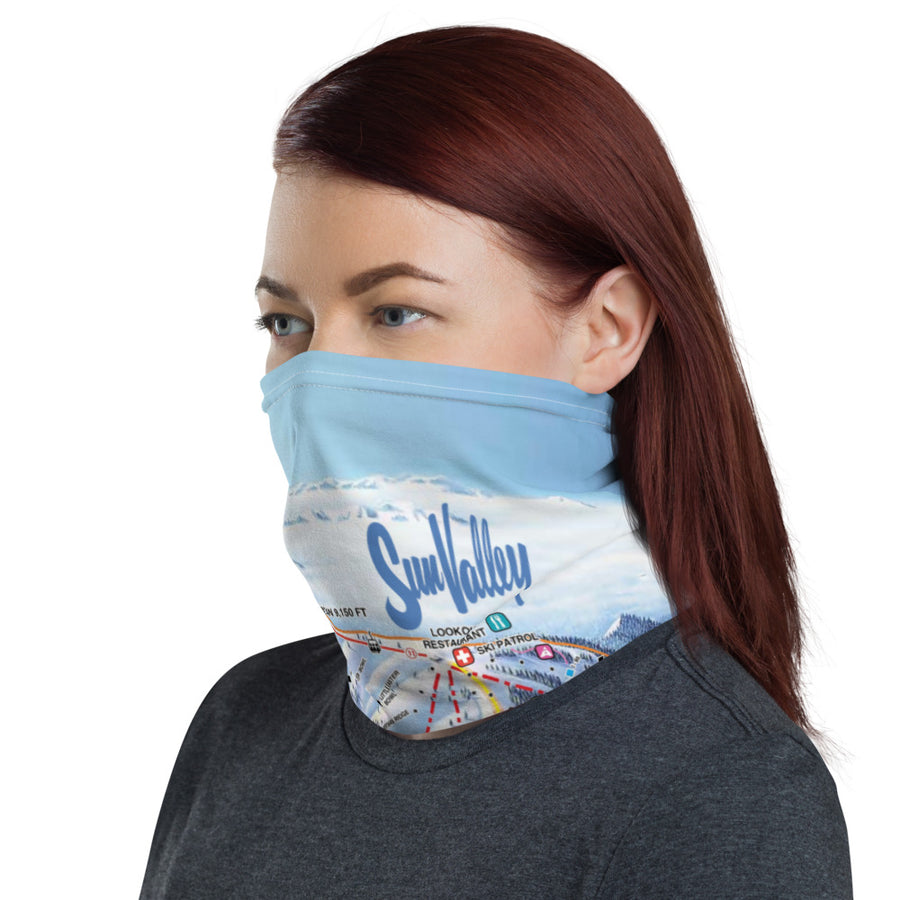 Sun Valley Winter Map Neck Gaiter