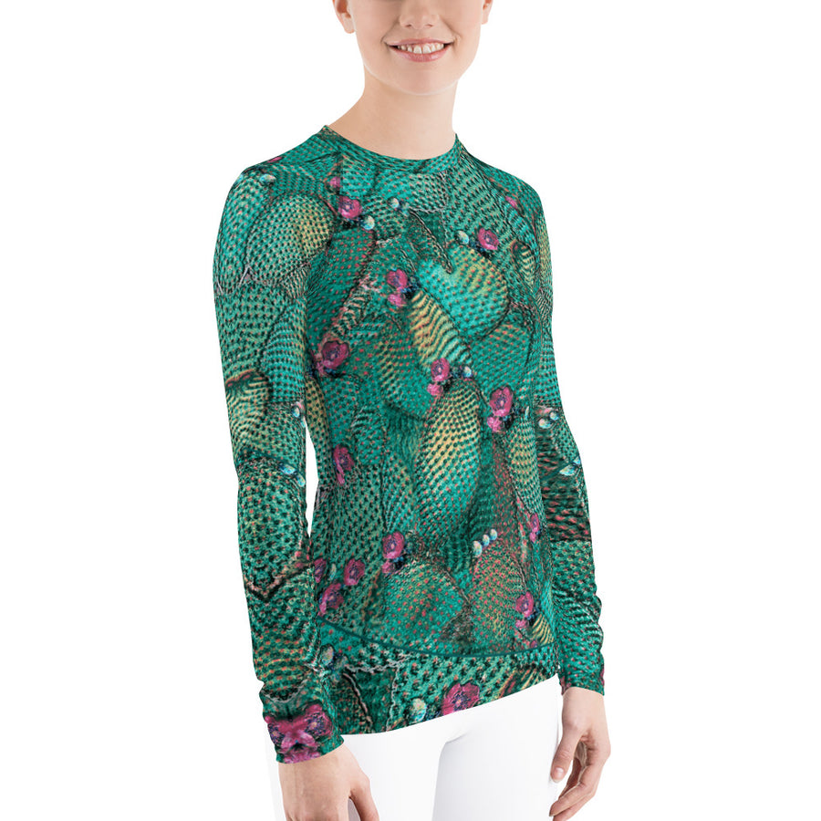 Prickly Pear Warrior Teal Long Sleeve Top