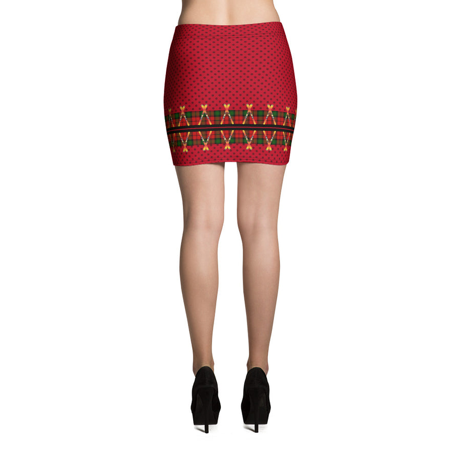 Crossed Ski Mini Skirt Red