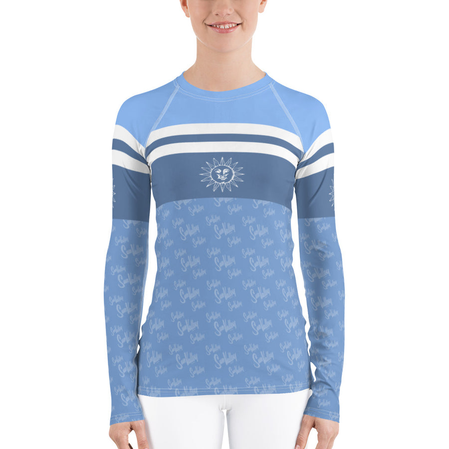 Sun Valley Logo Blue Stripe Long Sleeve Top