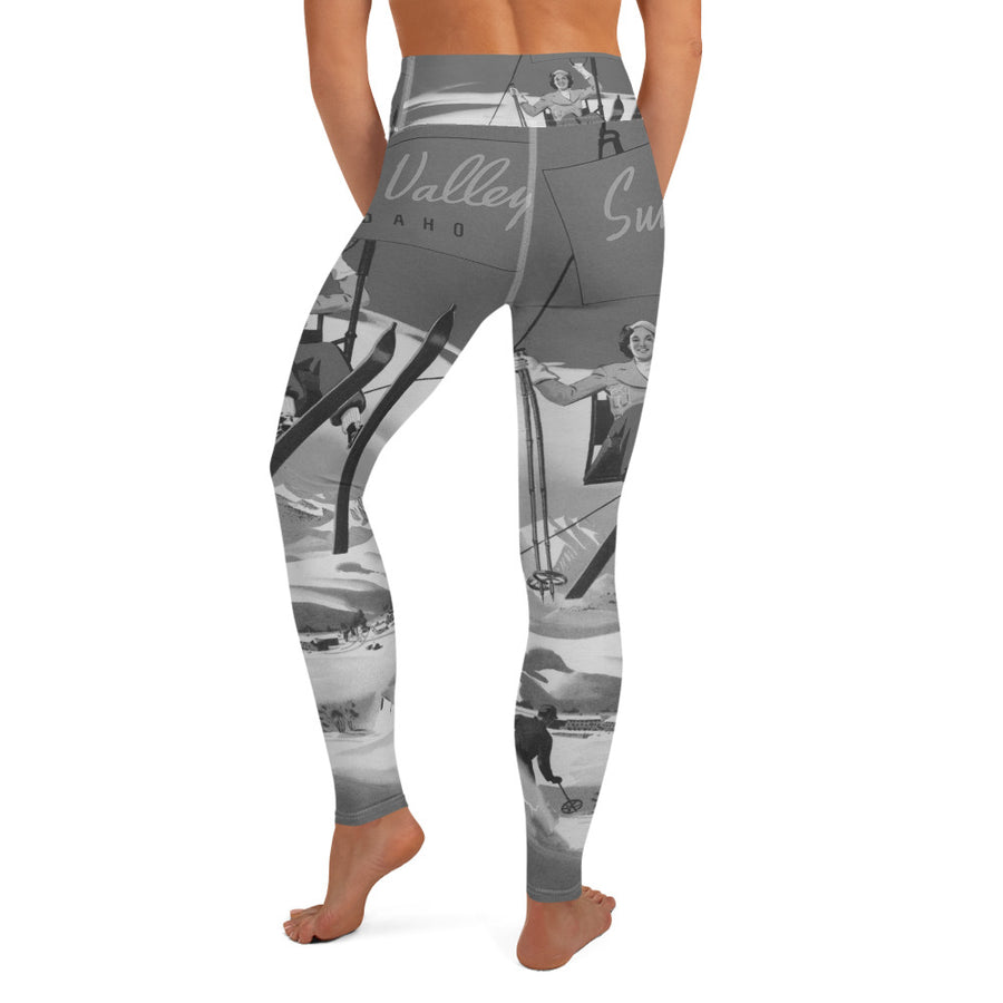 Vintage Sun Valley Skier Yoga Leggings Grey