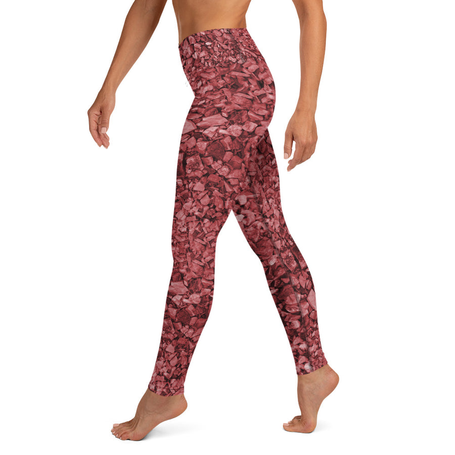 Burgundy Rocks Yoga Leggings