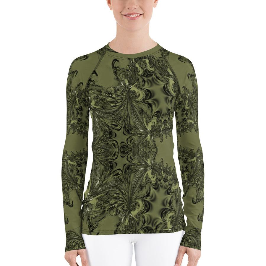 Olive Fractal Long Sleeve Top