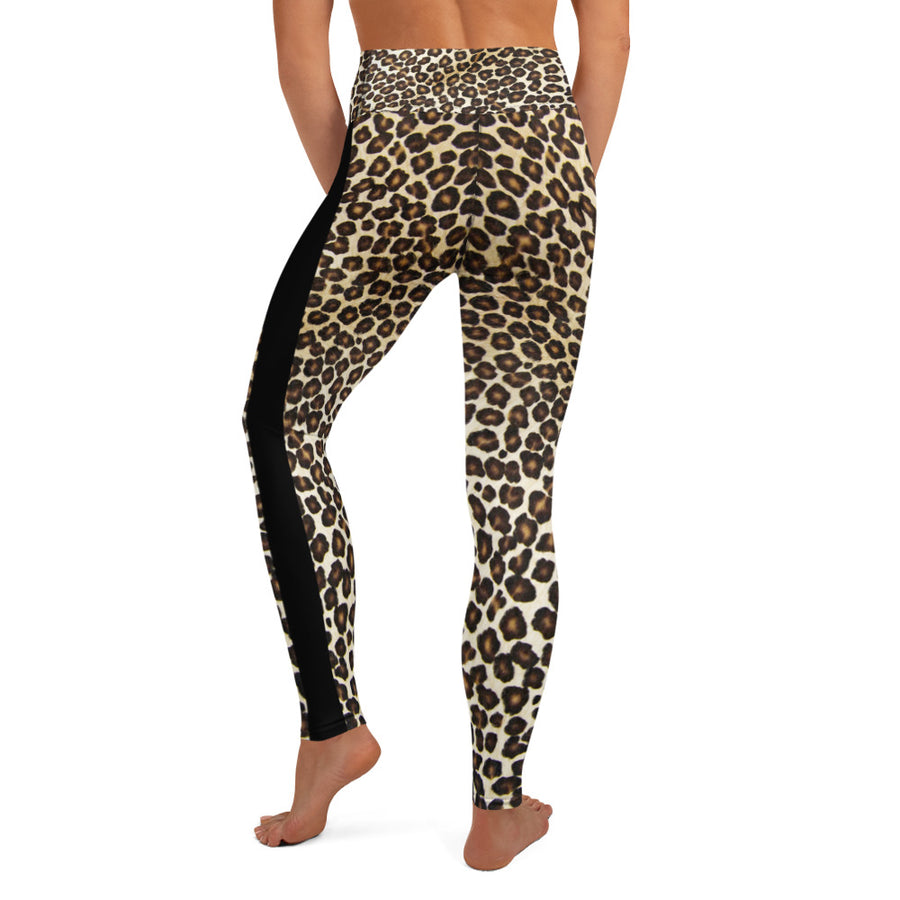 Natural Leopard With Stripe Yoga Leggings