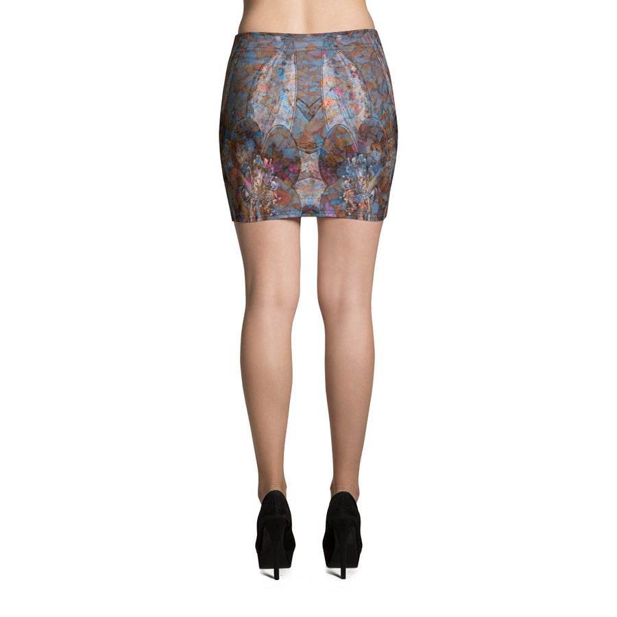 Columbine Flowers Mini Skirt