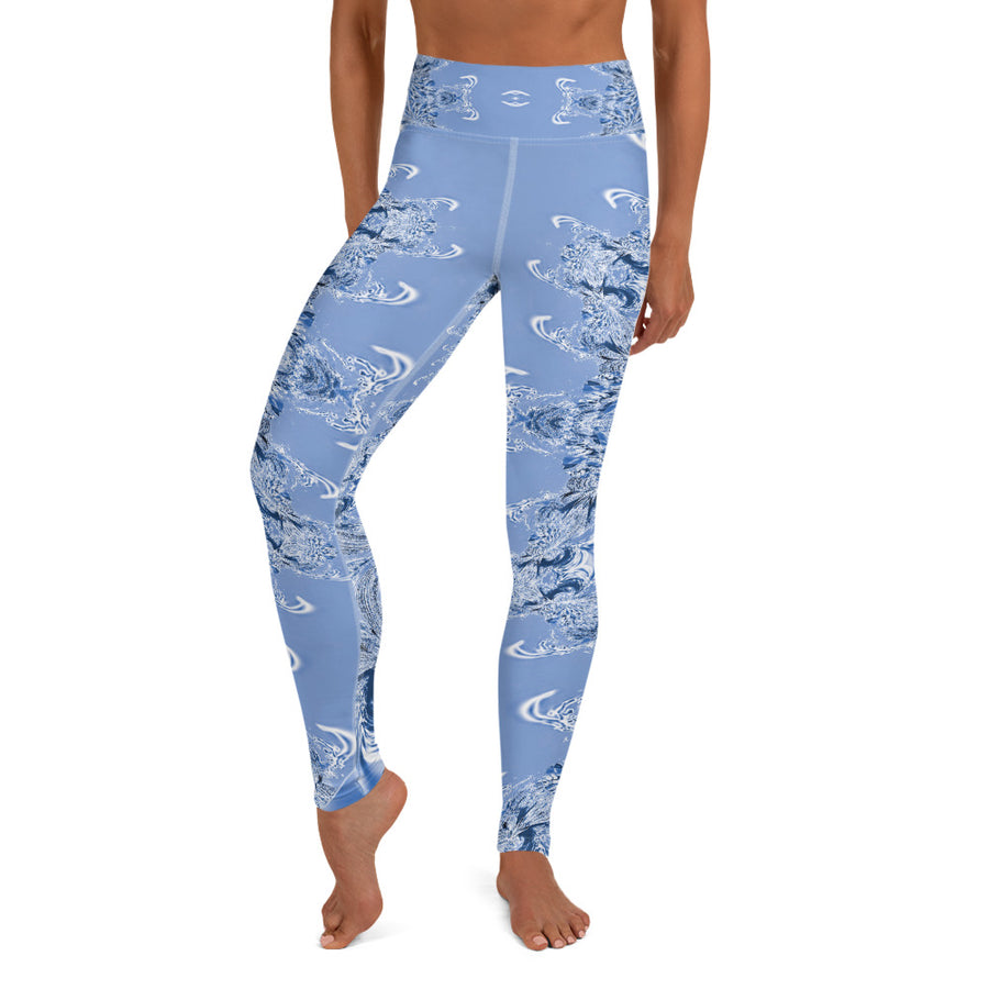 Blue Fractal Yoga Leggings