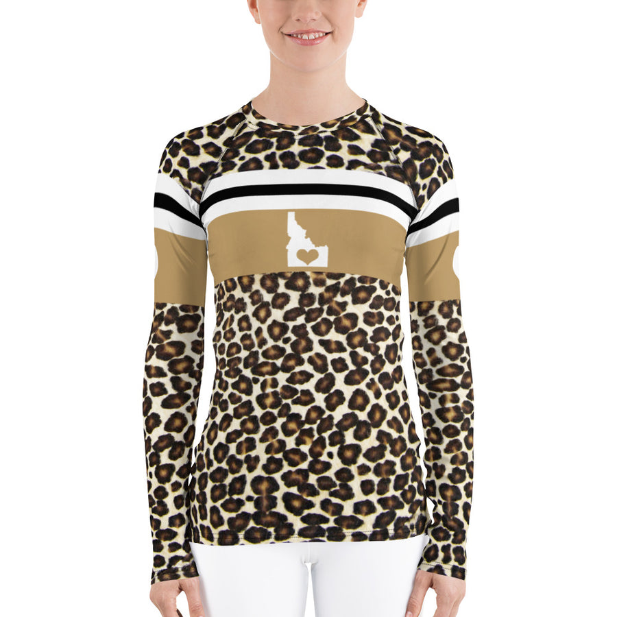Love Idaho Natural Leopard Print Long Sleeve Top