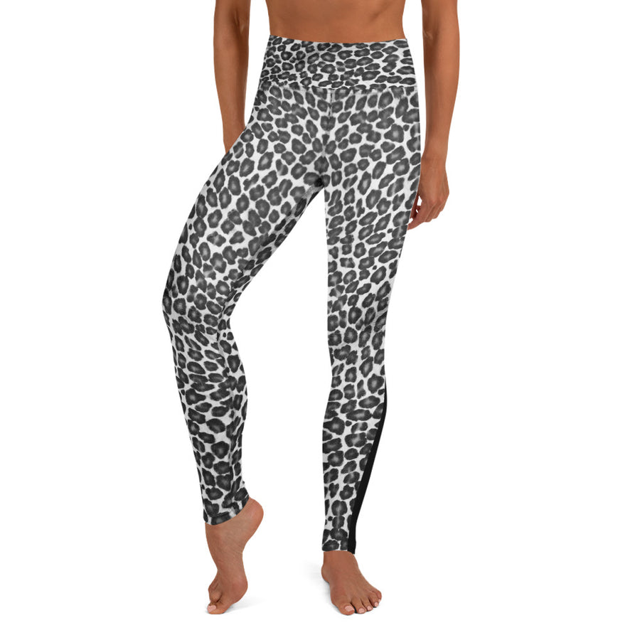 Black and White Leopard Print Yoga Leggings