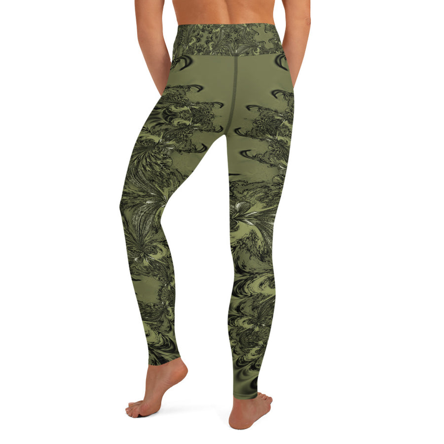 Olive Fractal Yoga Leggings