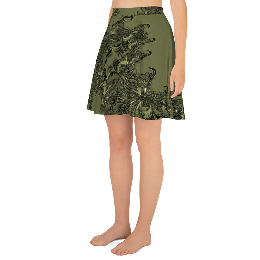 Olive Green Fractal Full Skirt