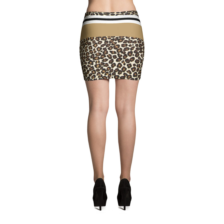 Leopard Print Natural Mini Skirt