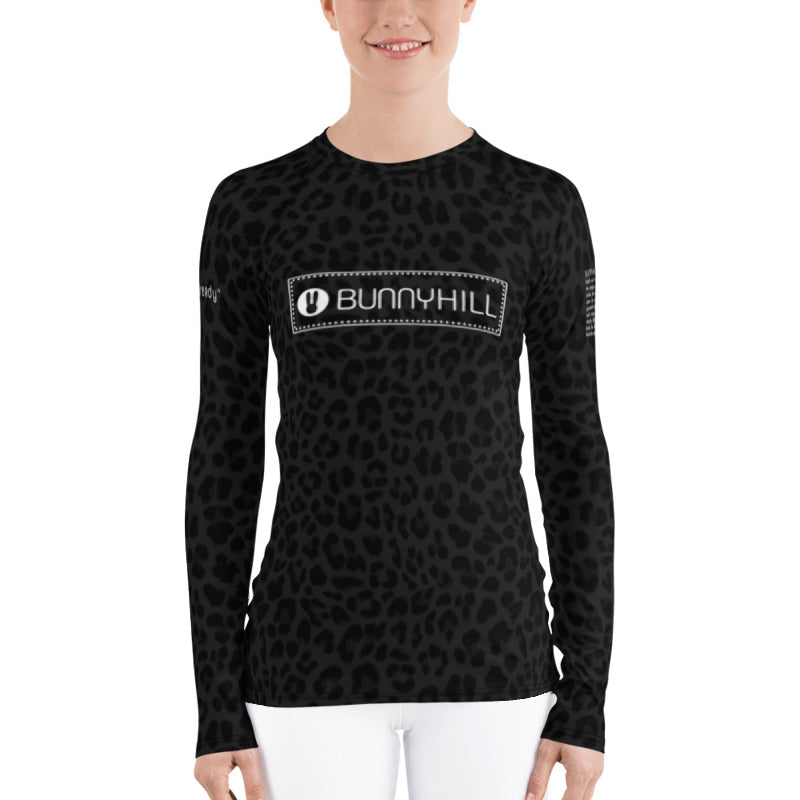 Bunny Hill Leopard Logo Long Sleeve Top Black