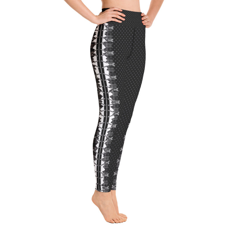 Crossed Ski Stripe Yoga Leggings Black