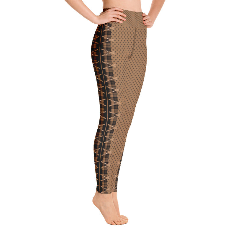 Crossed Ski Yoga Leggings Brown