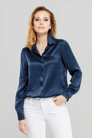 Navy Silk  Blouse