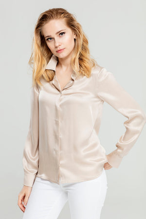Beige Silk Blouse