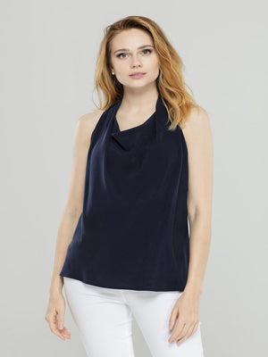 Navy Halter Neck Top