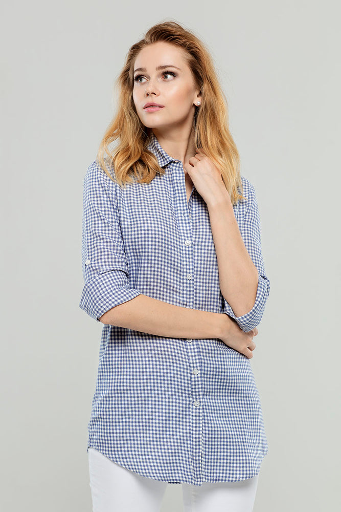 Load image into Gallery viewer, Navy Check Cotton/Cashmere Tunic